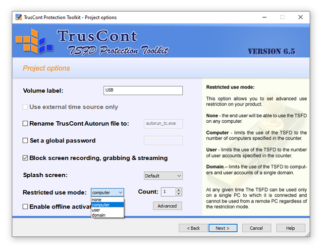 TrusCont TSFD Protection Toolkit: Project options